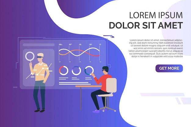 Mensen die werken met grafieken op virtuele schermen en voorbeeldtekst Gratis Vector