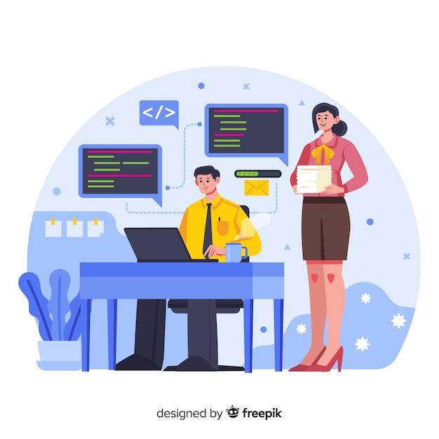 Mensen die werken op kantoor plat ontwerp Gratis Vector