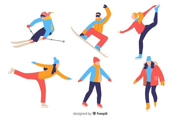 Mensen die wintersporten doen Gratis Vector