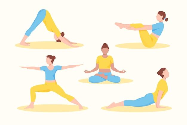 Mensen die yoga plat ontwerp doen Gratis Vector