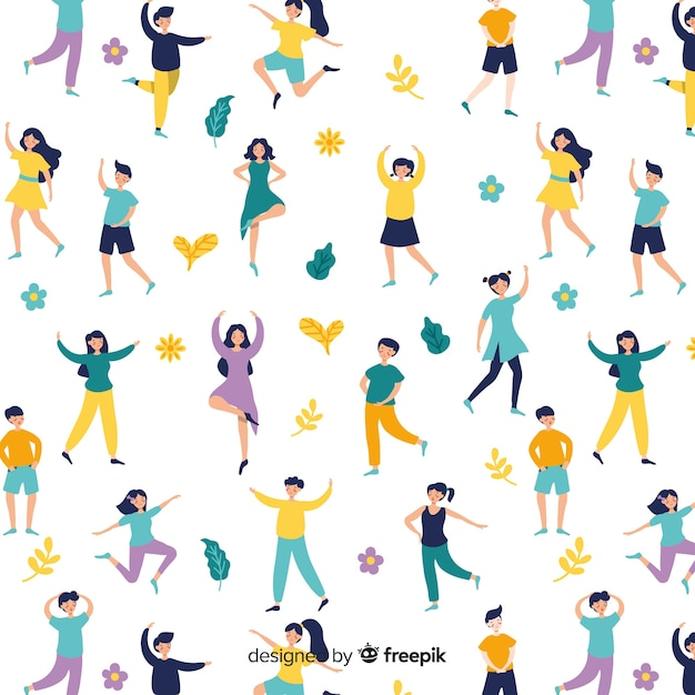 Mensen die yogapatroon uitoefenen Gratis Vector