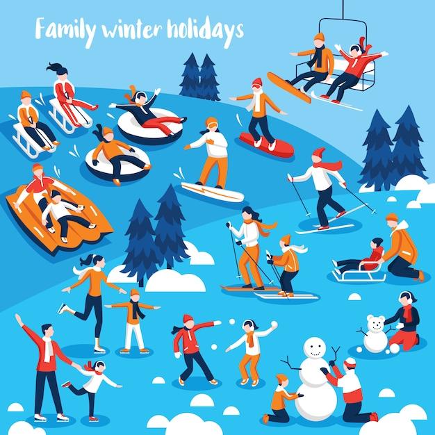 Mensen die zich bezighouden met wintersport Gratis Vector