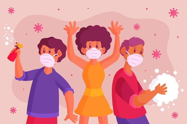 Mensen die zichzelf beschermen tegen coronavirus Gratis Vector