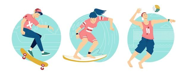 Mensen die zomersporten buiten doen Gratis Vector