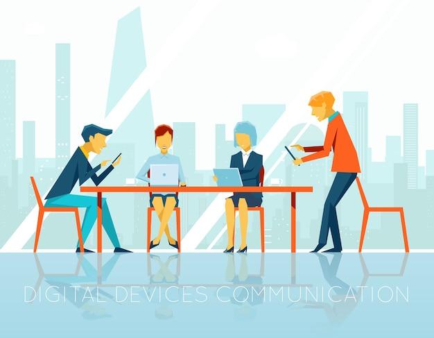 Mensen digitale apparaten communicatie. zakenvrouw en zakenman, teamwerk mensen, digitale technologie, apparaat communiceren, web internet, vector illustratie Gratis Vector
