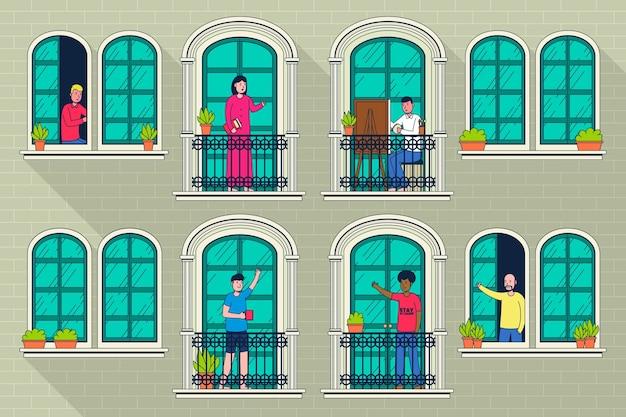 Mensen doen vrijetijdsactiviteiten op balkons Gratis Vector