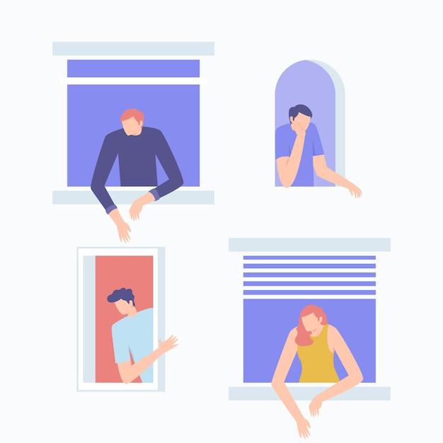 Mensen doen vrijetijdsactiviteiten op ramen Gratis Vector
