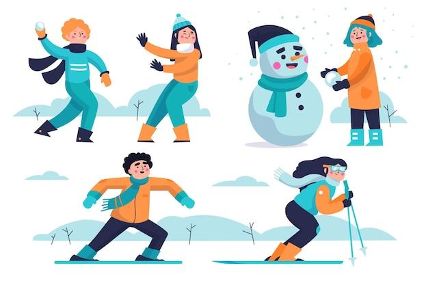 Mensen doen winteractiviteiten in de buitenlucht Gratis Vector