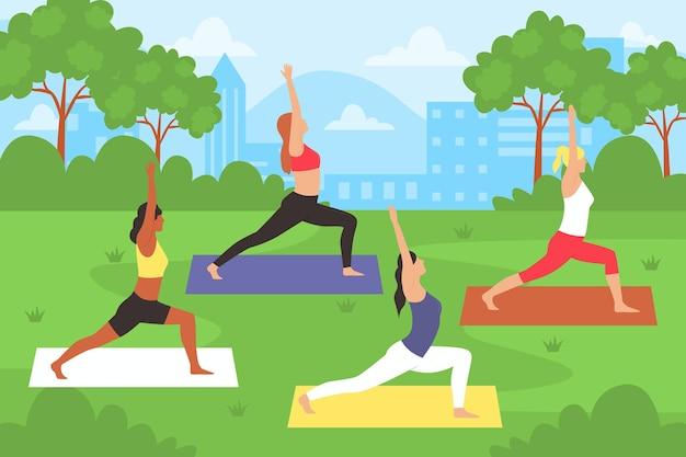 Mensen doen yoga buitenshuis Gratis Vector