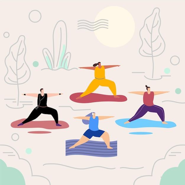 Mensen doen yoga met matten Gratis Vector