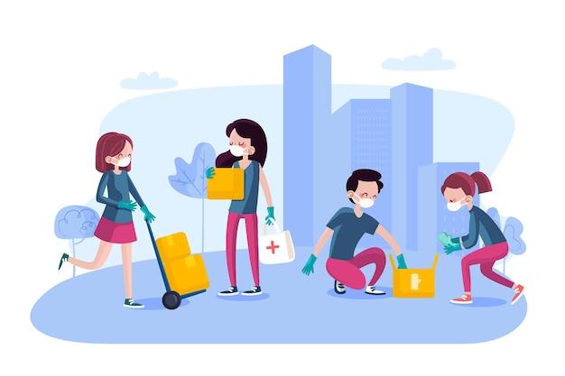 Mensen doneren en helpen de samenleving Gratis Vector