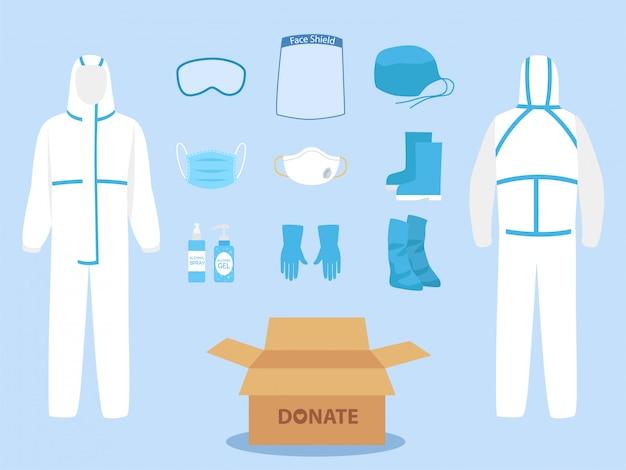 Mensen doneren persoonlijke beschermingsmiddelen ppe kleding geïsoleerd en veiligheidsuitrusting Premium Vector