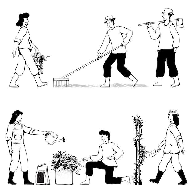 Mensen doodles tuinieren Premium Vector