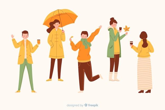 Mensen dragen geïllustreerde herfst kleding Gratis Vector