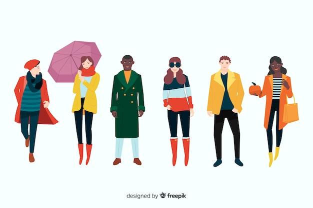 Mensen dragen herfst kleding illustratie Gratis Vector