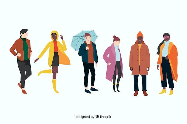 Mensen dragen herfst kleding Gratis Vector