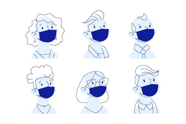 Mensen dragen medische masker Premium Vector