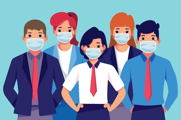 Mensen dragen medische masker Gratis Vector