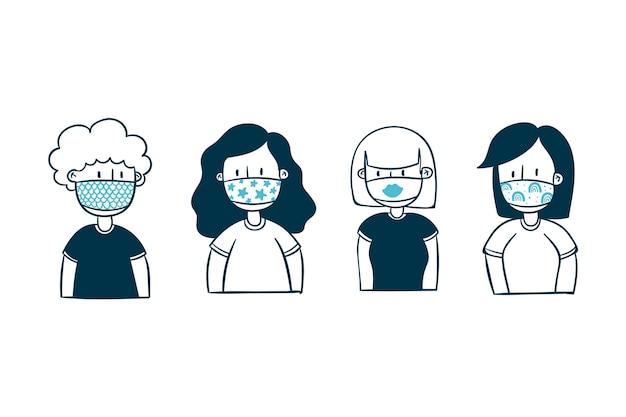 Mensen dragen stoffen gezichtsmaskers Premium Vector