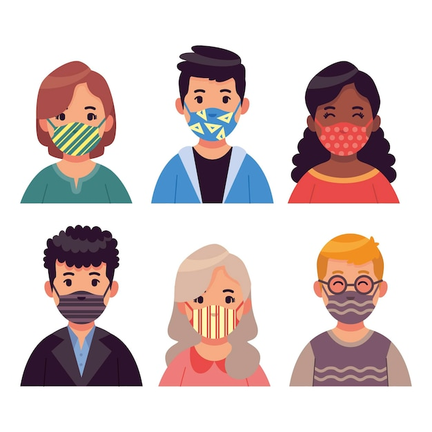 Mensen dragen stoffen gezichtsmaskers Gratis Vector