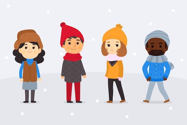 Mensen dragen winter kleding collectie Gratis Vector