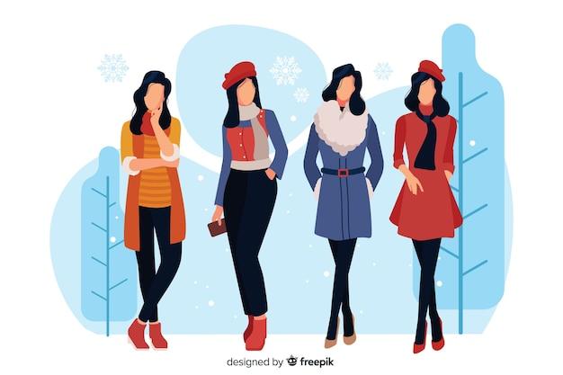 Mensen dragen winterkleren Gratis Vector