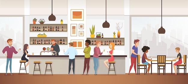 Mensen drinken coffe in interior vector cafe bar Premium Vector