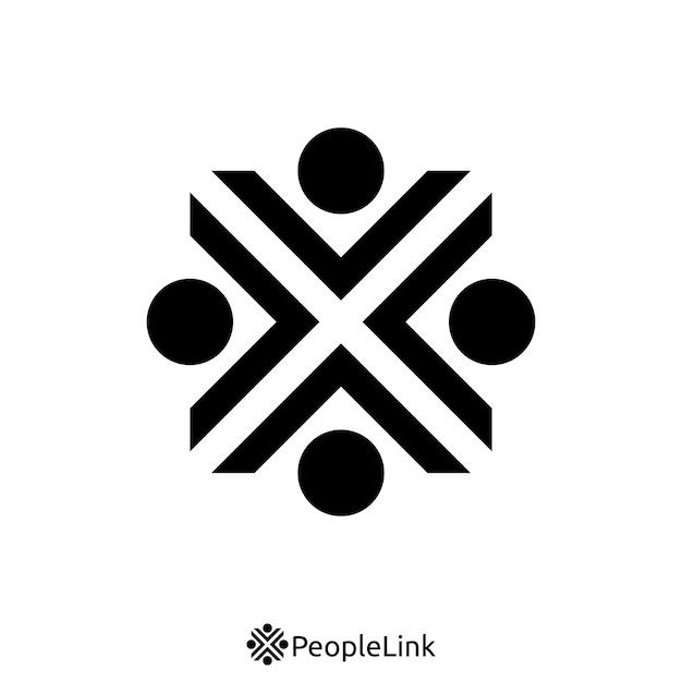 Mensen eenheid logo met de eerste letter x teken. logo sjabloon Premium Vector