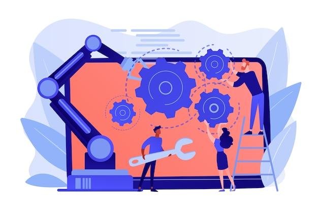 Mensen en cobot-robotarm werken samen bij het repareren van laptops. samenwerkende robotica, cobotautomatisering, concept voor veilige industrieoplossingen Gratis Vector
