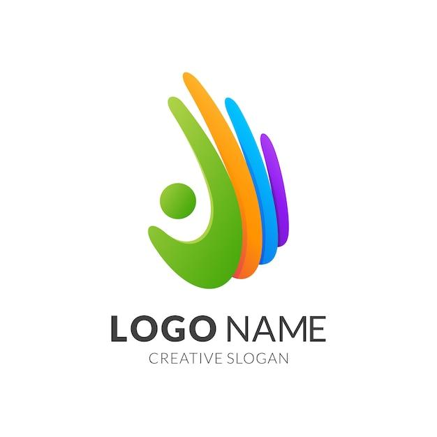 Mensen en hand logo sjabloon, moderne logostijl in levendige kleuren met kleurovergang Premium Vector