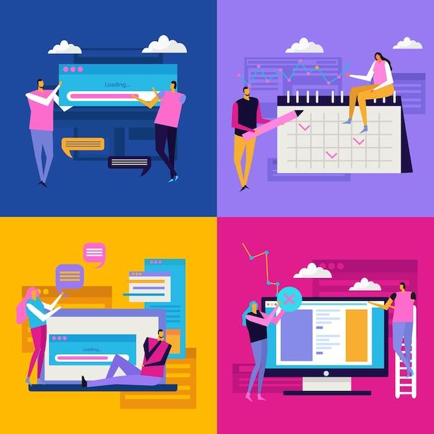 Mensen en interfaceconcept met samenstellingen van pictogrampictogrammen en gadgets van personenpersonages Gratis Vector