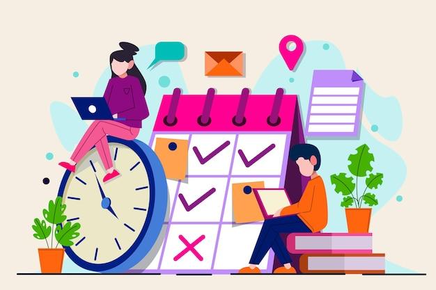Mensen en kalender time management concept Gratis Vector