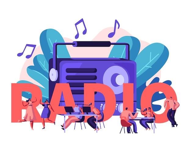 Mensen en radio concept. cartoon vlakke afbeelding Premium Vector