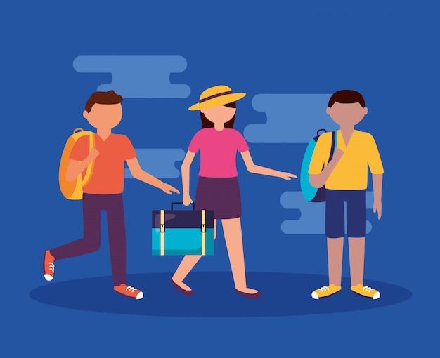 Mensen en reizen in vlakke stijl Gratis Vector