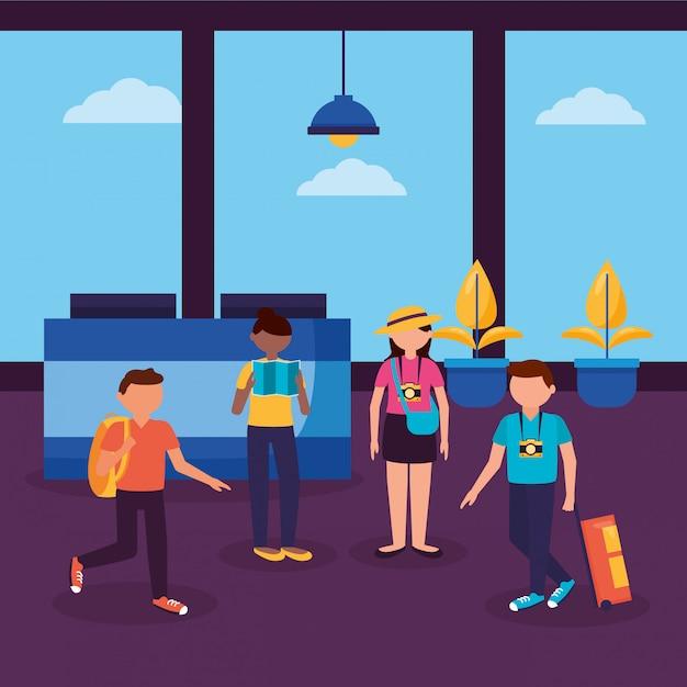 Mensen en reizen plat ontwerp Gratis Vector