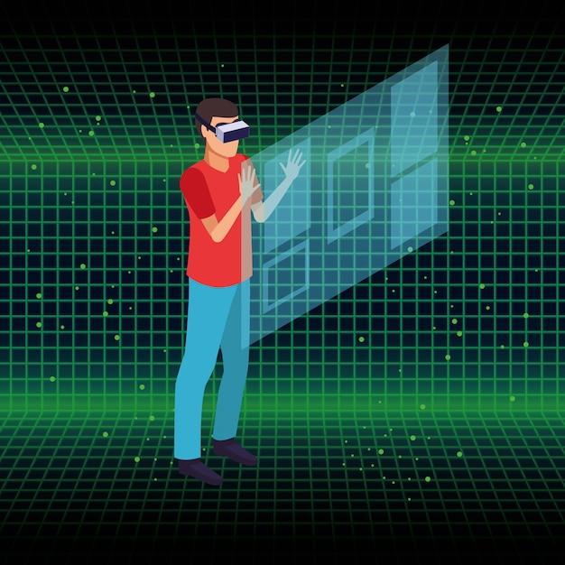 Mensen en virtual reality briltechnologie Gratis Vector