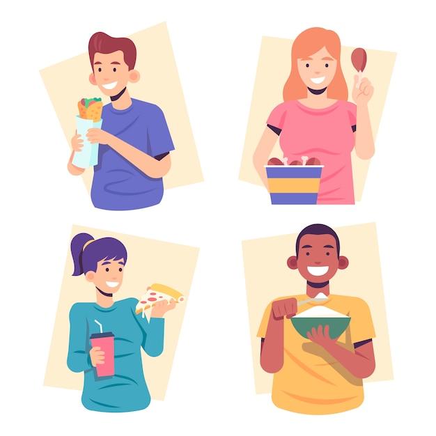 Mensen eten hun eten en glimlachen Gratis Vector