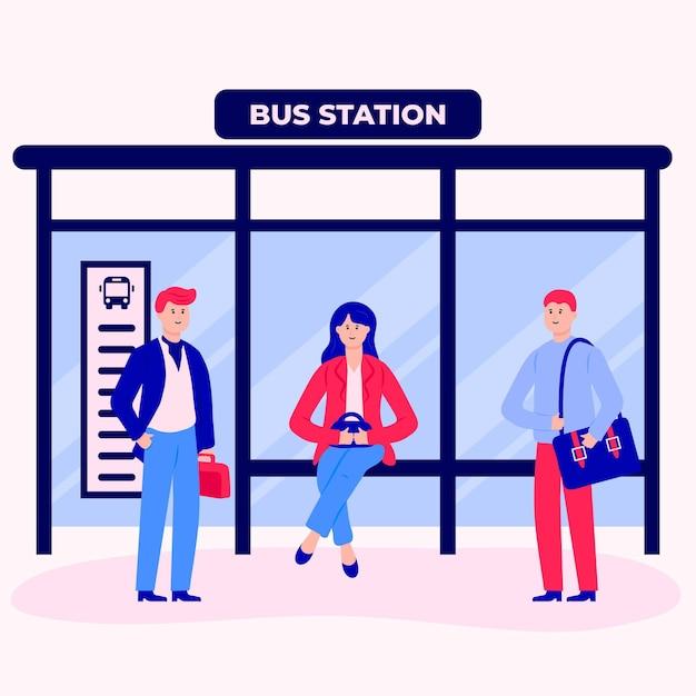Mensen gaan weer aan het werk in het busstation Gratis Vector