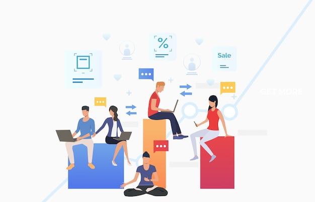 Mensen gebruiken gadgets en communiceren Gratis Vector