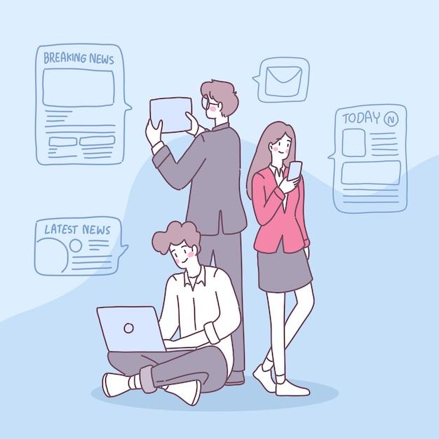 Mensen gebruiken smartphones om in hun dagelijks leven nieuws te ontvangen. Gratis Vector
