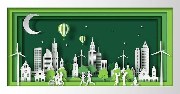 Mensen genieten van activiteiten buitenshuis, redden de planeet en het energieconcept, papier gesneden en ambachtelijke stijl. Premium Vector