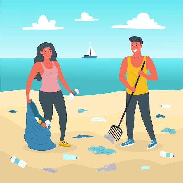 Mensen genieten van het schoonmaken van het strand Gratis Vector