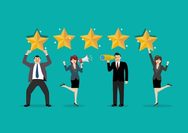 Mensen geven beoordelingen en feedback. feedback met tevredenheidsscore. Premium Vector