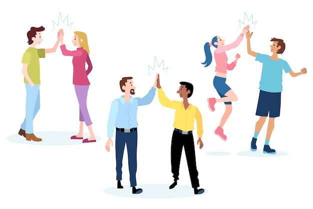 Mensen geven high five en hebben plezier Gratis Vector