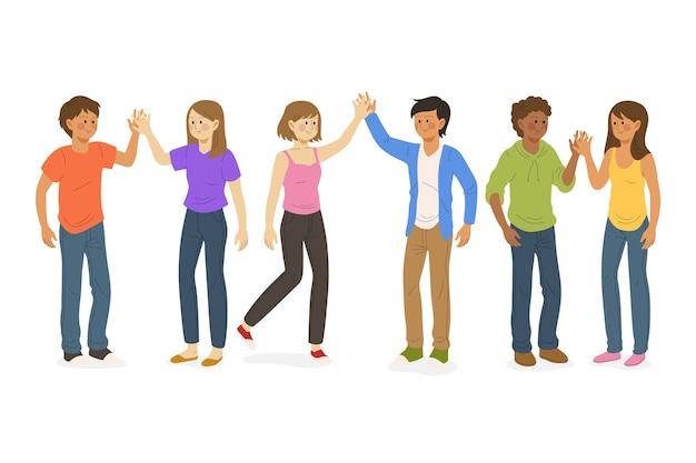 Mensen geven high five illustratie Gratis Vector