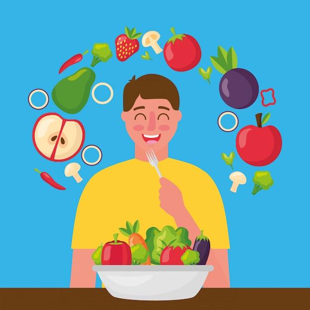 Mensen gezond eten Gratis Vector