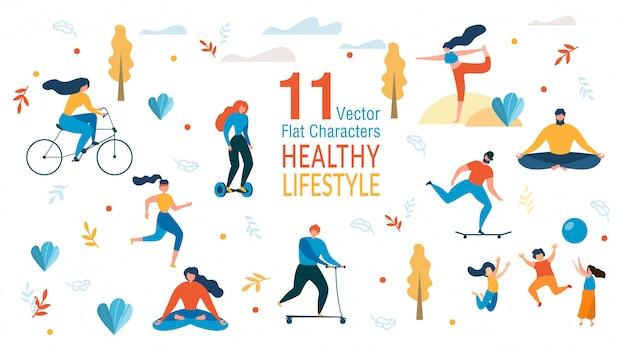 Mensen gezonde levensstijl tekens instellen Premium Vector