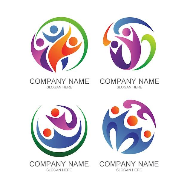Mensen gezondheid logo vector set Premium Vector