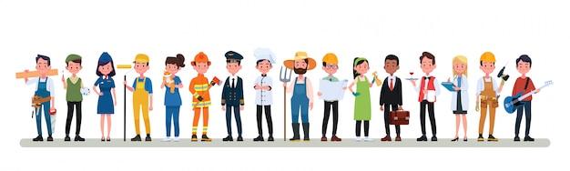 Mensen groep verschillende bezetting beroep ingesteld, internationale dag van de arbeid platte banner Premium Vector