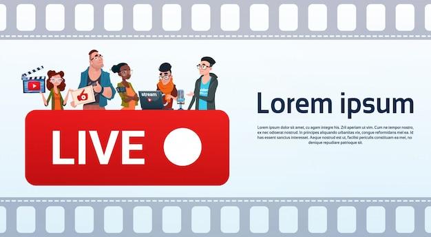 Mensen groep video blogger online stream bloggen abonneren concept Premium Vector